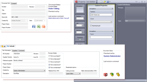 Property tab / EPDM datacard