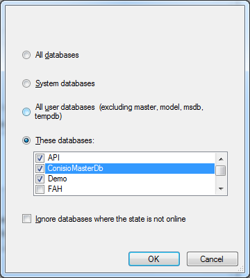 Select the databases to backup